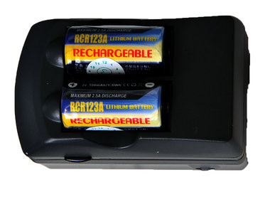 CR 123 batterij lader met 2x accu