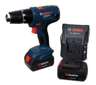 Bosch 18 volt, 2 accus 3 Ah, lader,en koffer professionele set